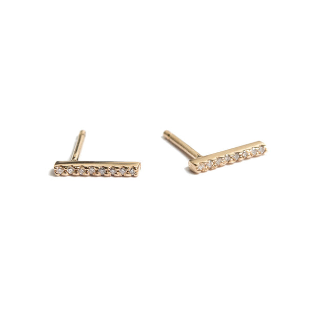 Diamond Pavé Bar Earring | 14K Yellow Gold | Janna Conner