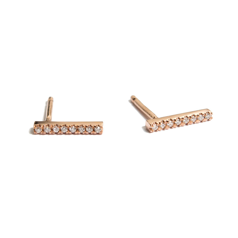 Diamond Pavé Bar Earring | 14k Rose Gold | Janna Conner
