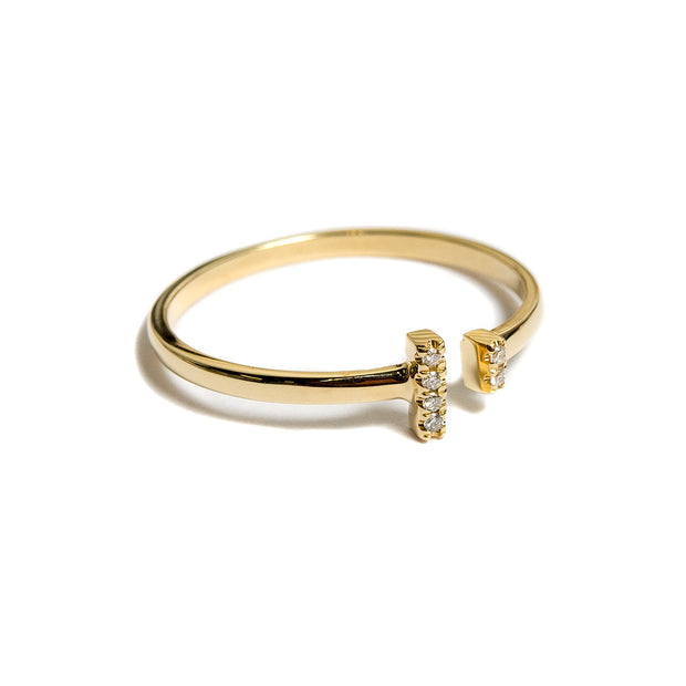 Diamond Bar Ring | 14K Gold | Janna Conner