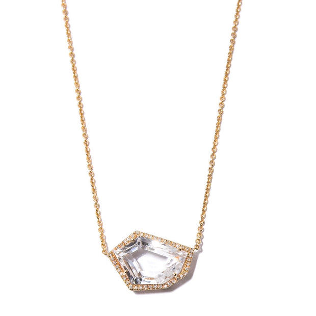 Cubist Necklace with White Topaz | 14K Gold | Janna Conner