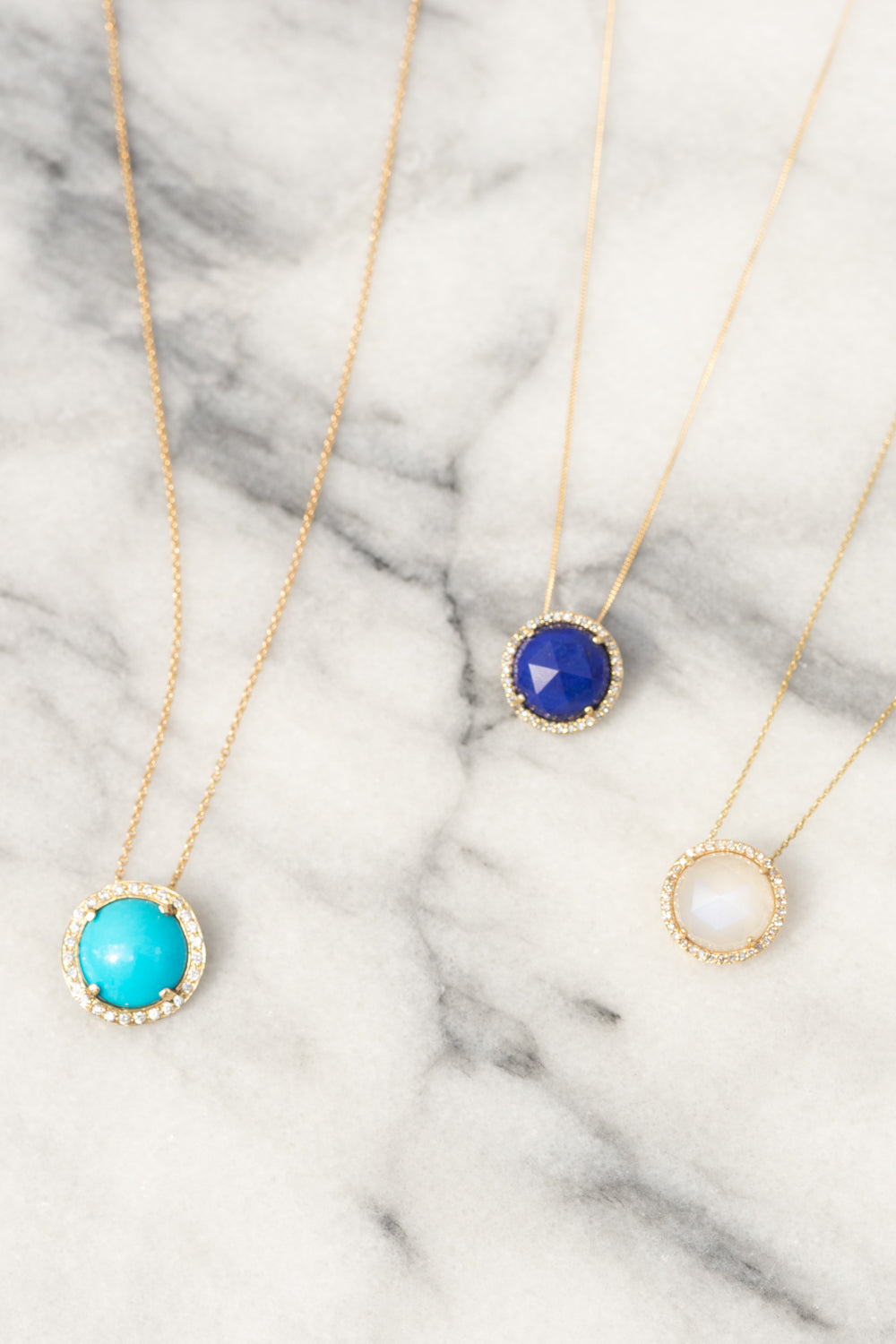Janna Conner Sleeping Beauty Turquoise, Lapis and Moonstone Necklaces with Diamond Pavé, 14K Yellow Gold