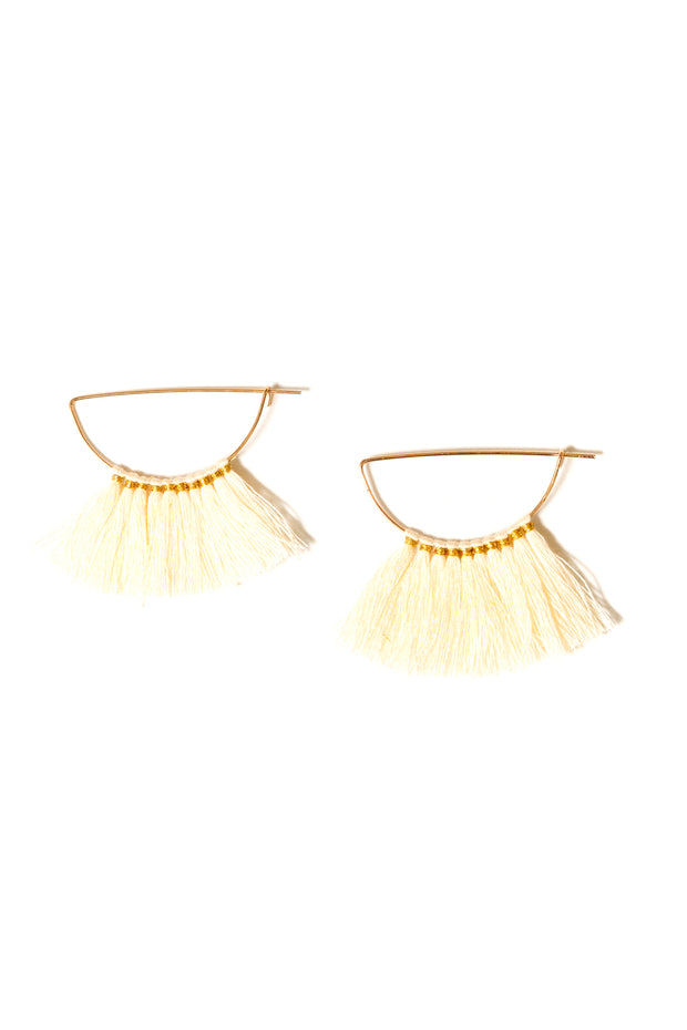 cream cotton fringe hoop earrings by Janna conner