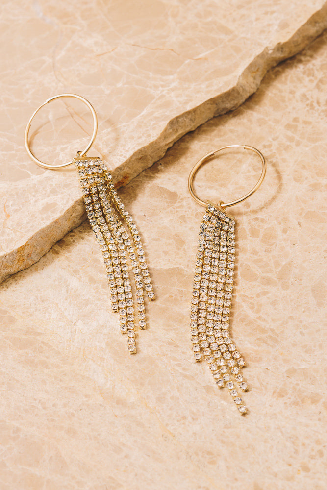 crystal chain fringe hoop earrings
