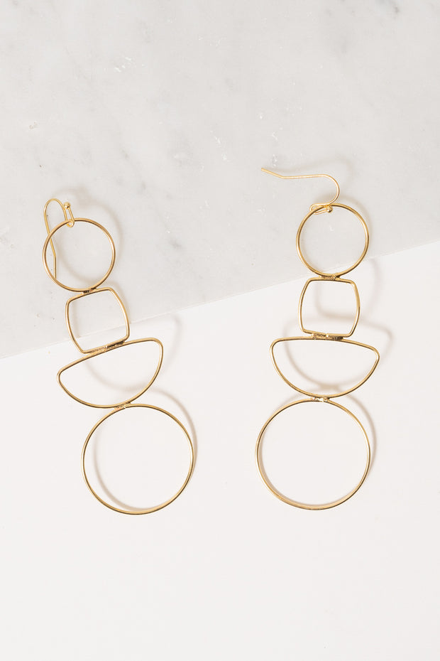gold wire cutout geometric earrings