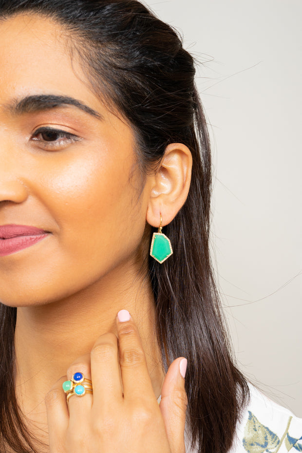 chrysoprase and diamond pave gold earrings Janna Conner on model with stacking rings