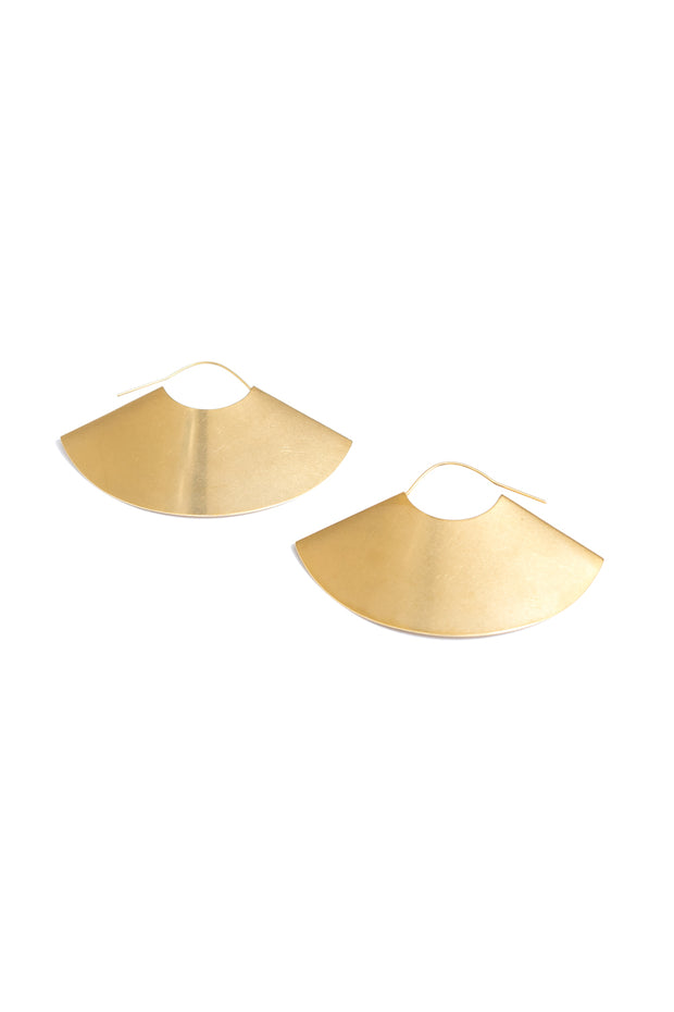 large gold fan hoop earrings