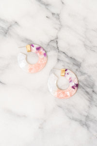 pink purple white ombre acrylic hoop earrings