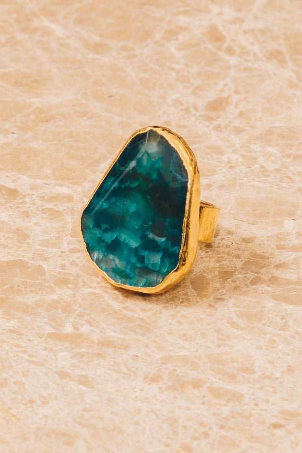blue agate gold cocktail rings