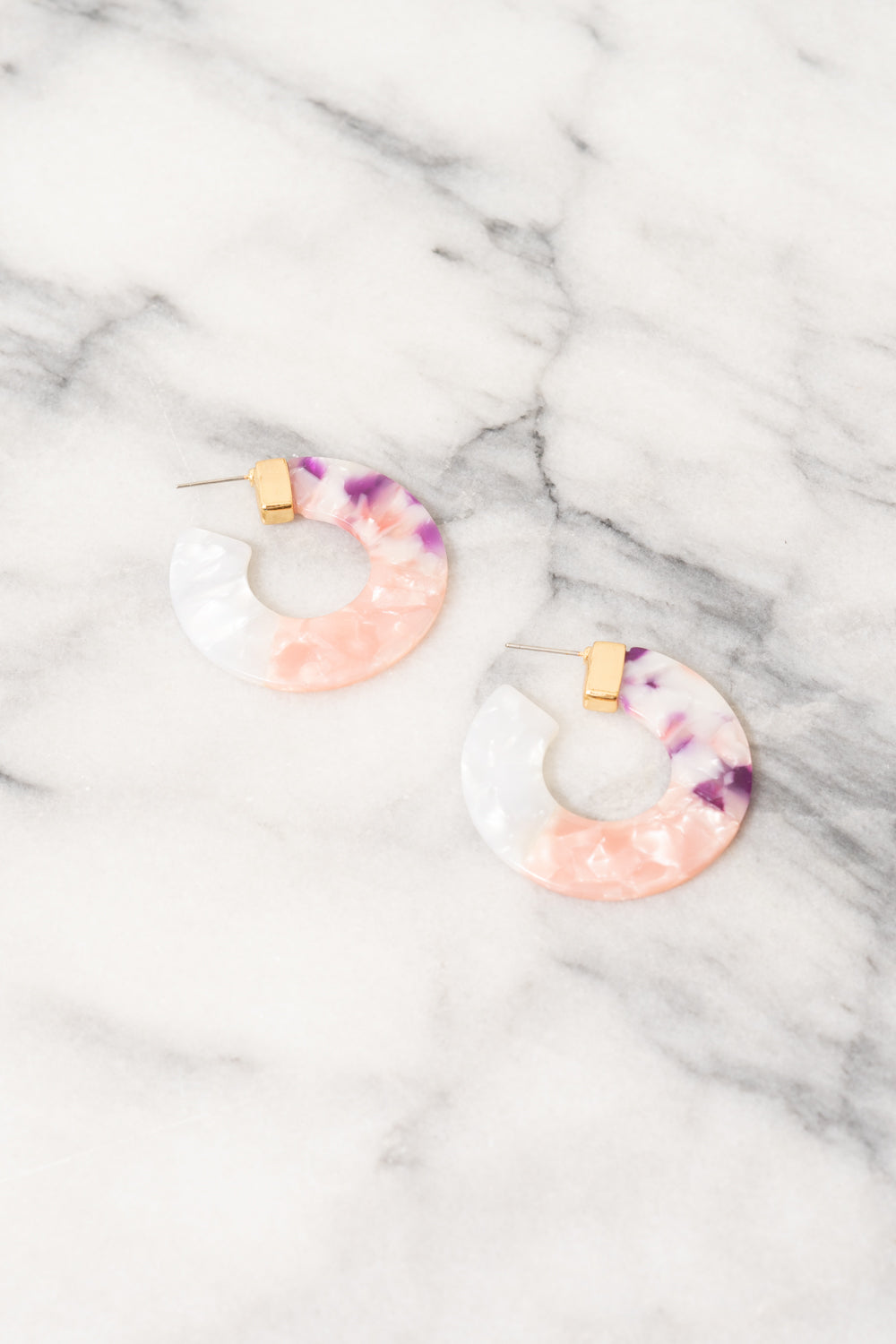 purple pink ombre acrylic hoop earrings