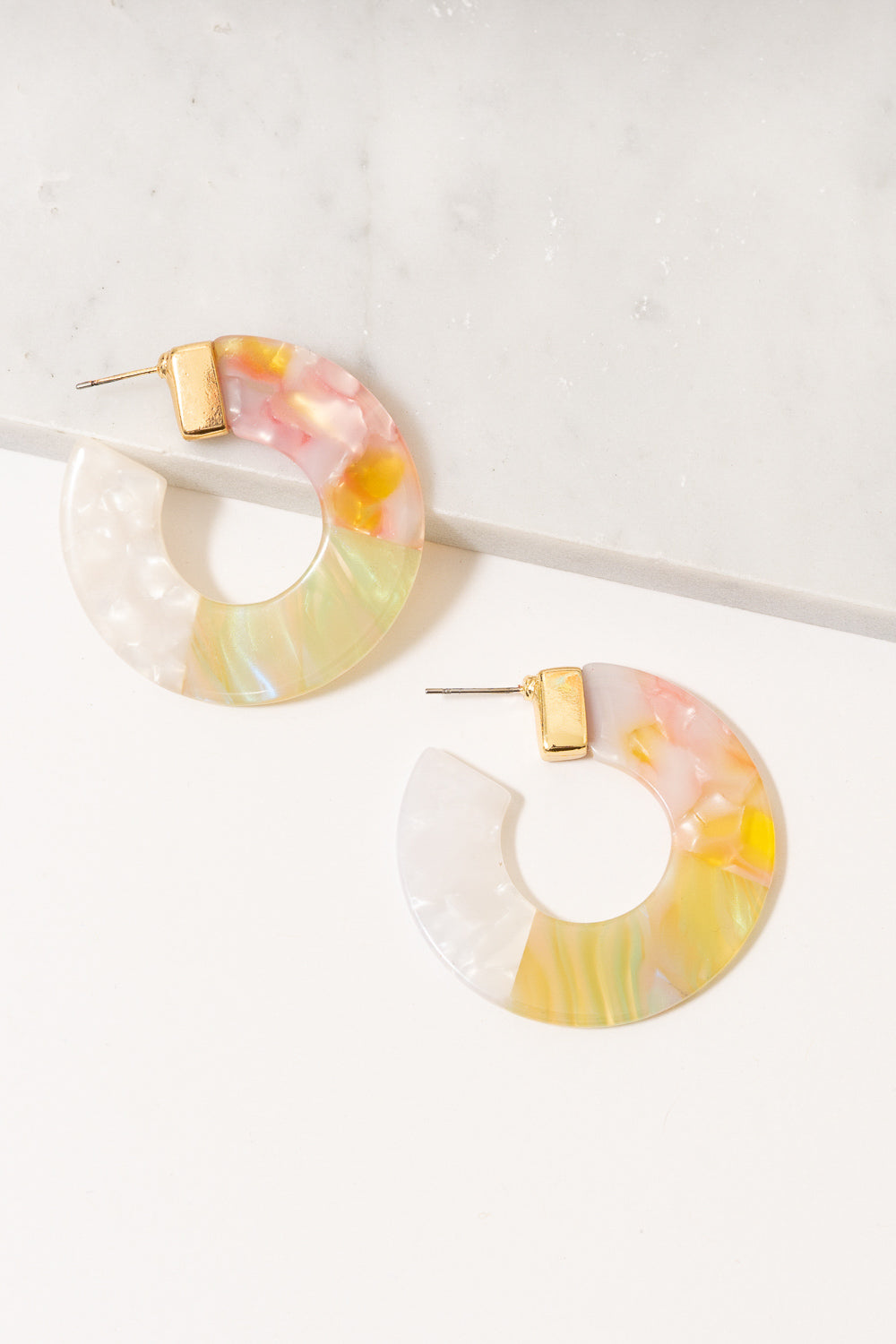 pink green yellow acrylic hoop earrings