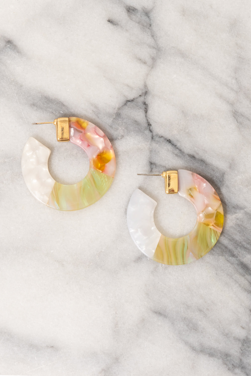 pink yellow white ombre acrylic hoop earrings