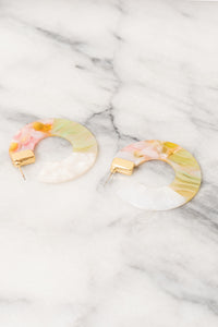 pink yellow acrylic hoop earrings