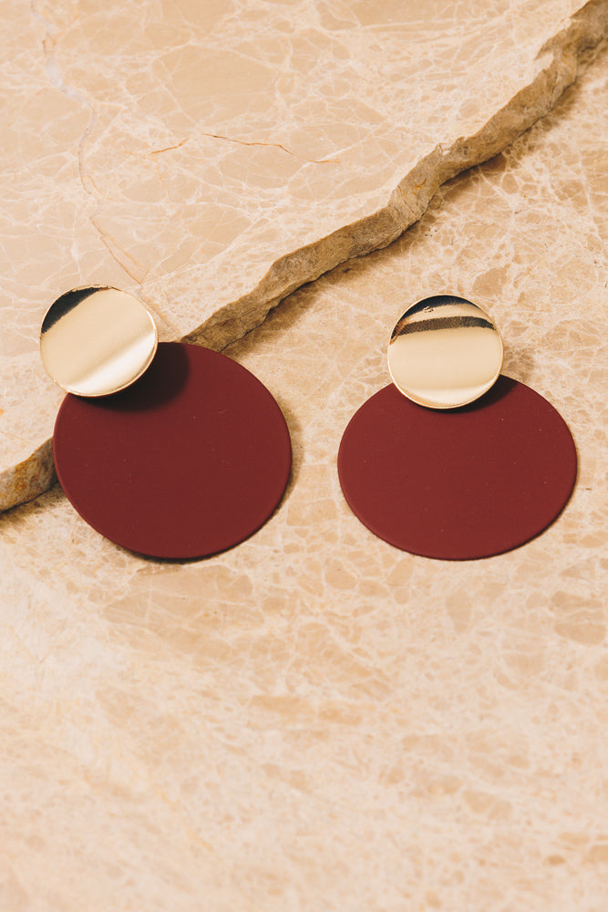berry red disc earrings with gold accents