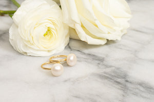 pearl lollipop gold ring 14k janna conner ranunculus
