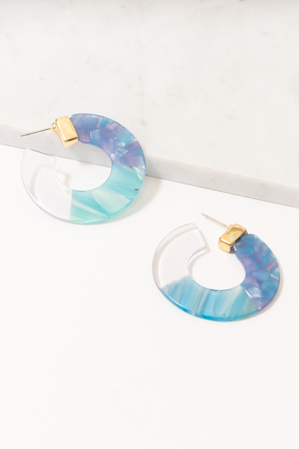 blue ombre acrylic hoop earrings
