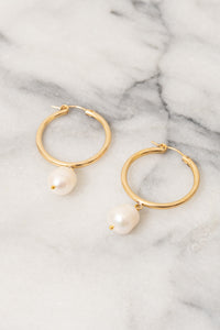 pearl hoop earrings gold Janna Conner
