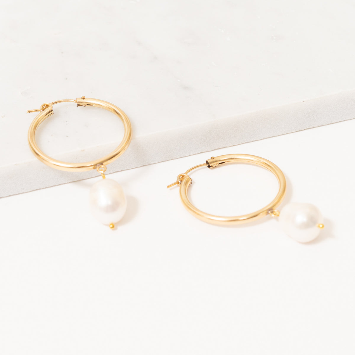 Shelby Hoop Earrings | Baroque Pearl | 14k Gold Filled | Janna Conner