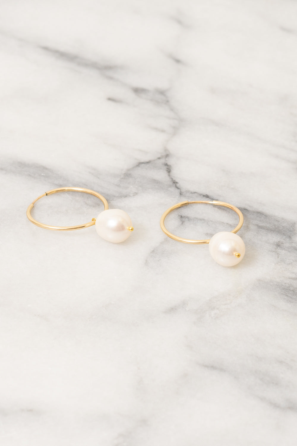 Soraya Hoop Earrings | Baroque Pearl | 14k Gold Filled | Janna Conner
