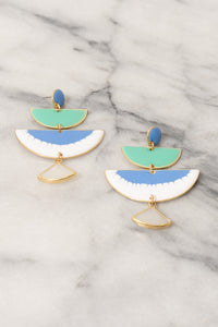 blue green enamel chandelier earrings statement earrings