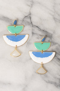 blue green enamel chandelier earrings statement earrings by Janna Conner