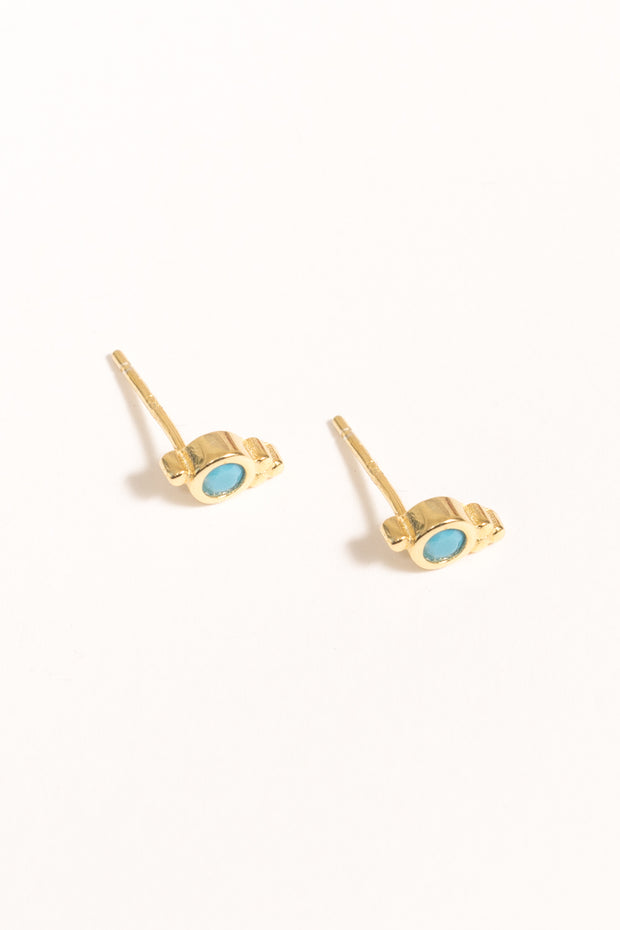 blue opal tiny vermeil stud earrings