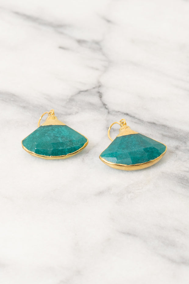 fan shaped dangle earrings teal jade on marble