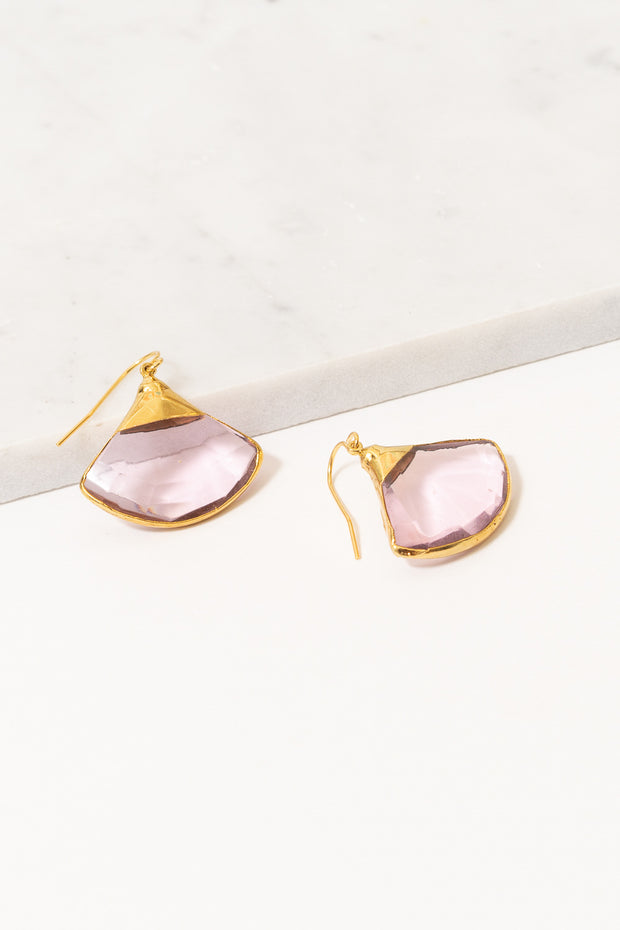 fan shaped dangle earrings light pink quartz on marble