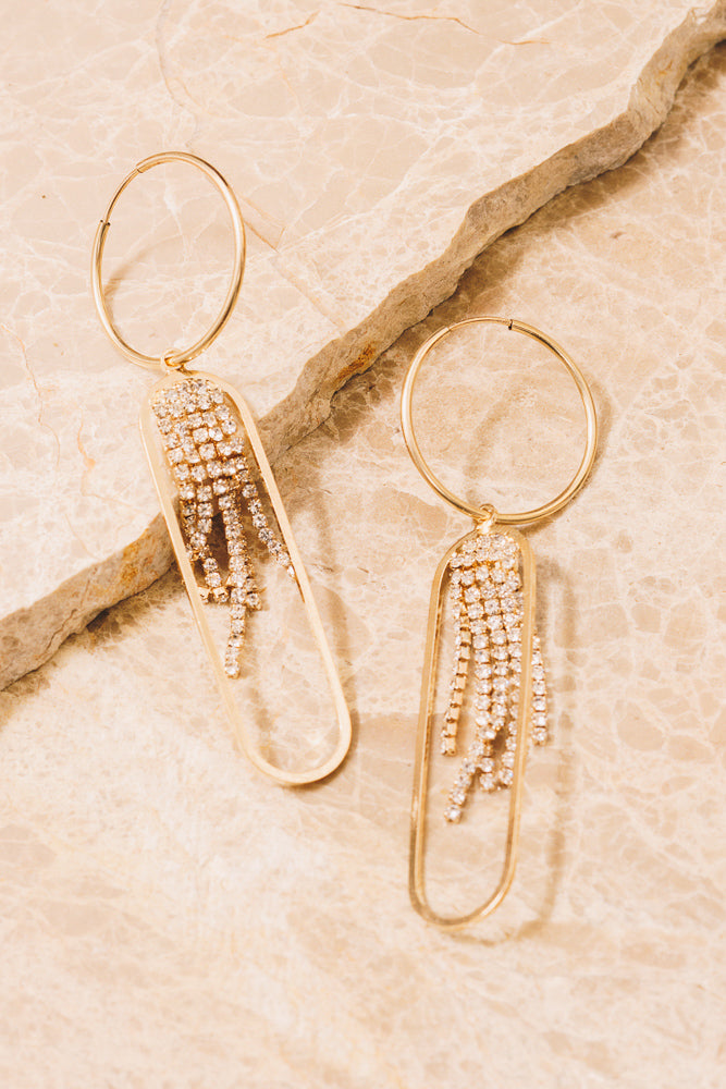 crystal chain fringe holiday gold hoop earrings