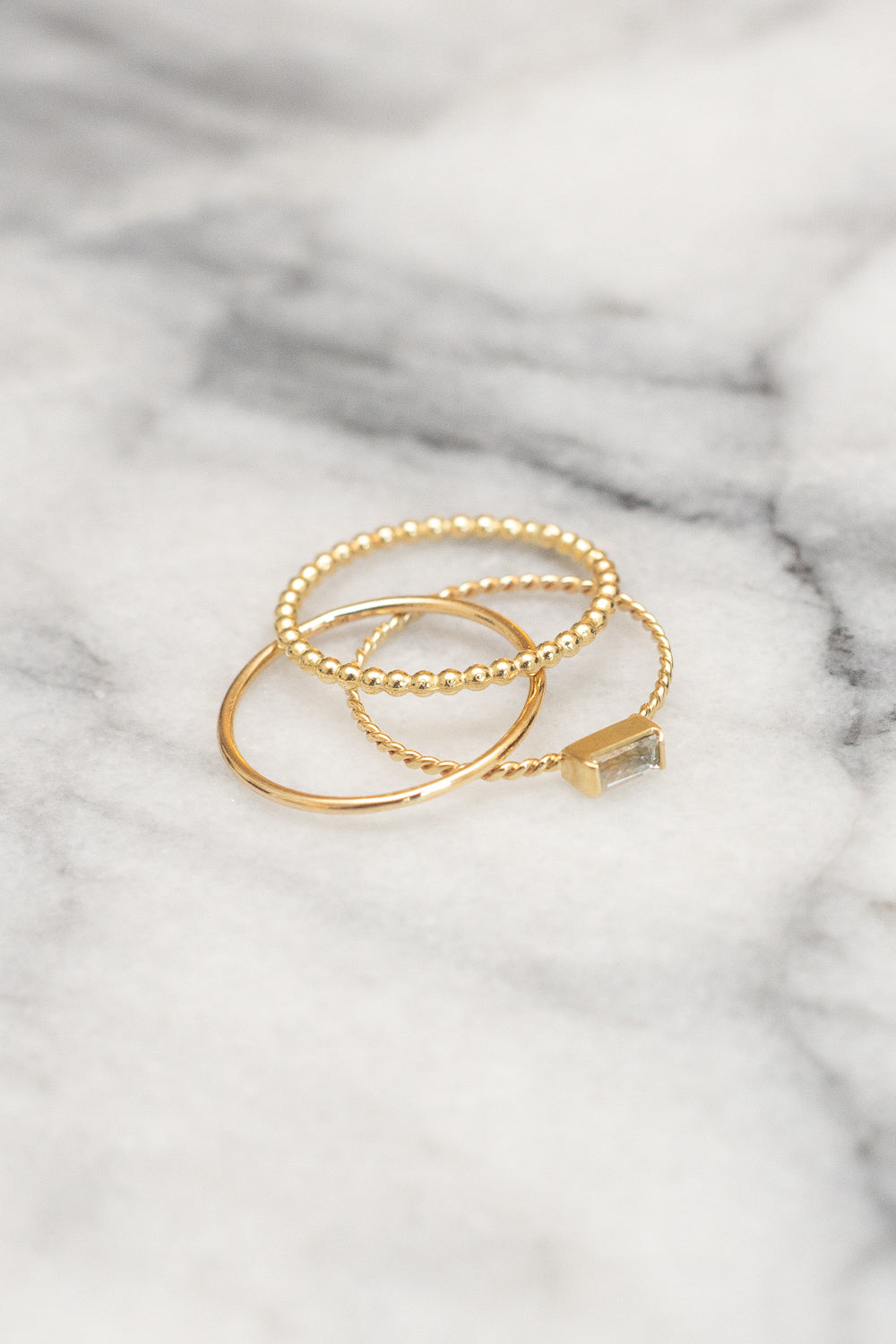 gold stacking ring baguette ring