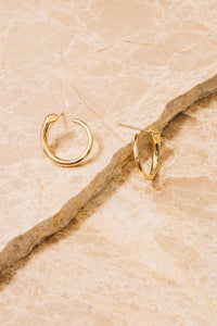 gold curved nail stud earrings