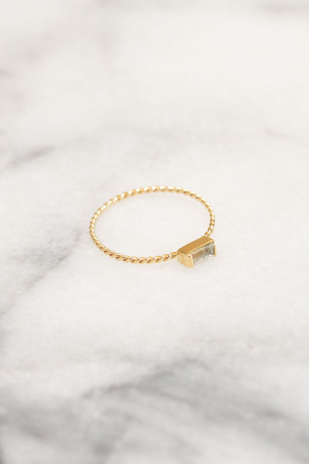 white sapphire stacking ring gold