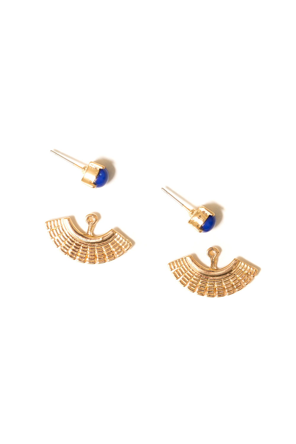 gold ear jackets with Blue stud earrings