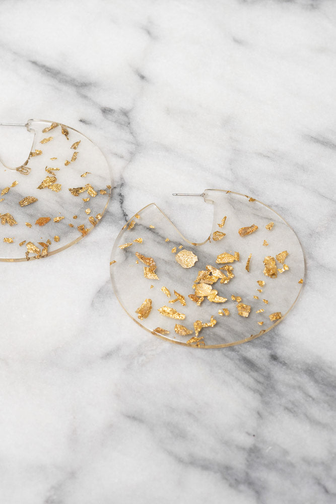 gold leaf flake clear acrylic disc earrings