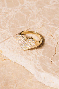 crystal heart gold statement ring