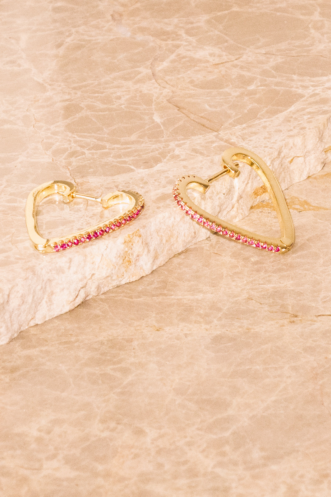 Heart Hoop Earrings | Ruby Crystal | 18k Gold Plating | Janna Conner