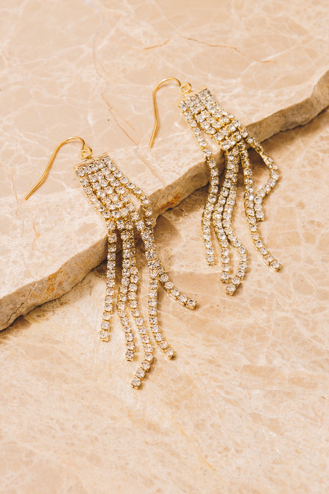 Colby Crystal Fringe Chain Earrings | 18k Gold Plating | Janna Conner