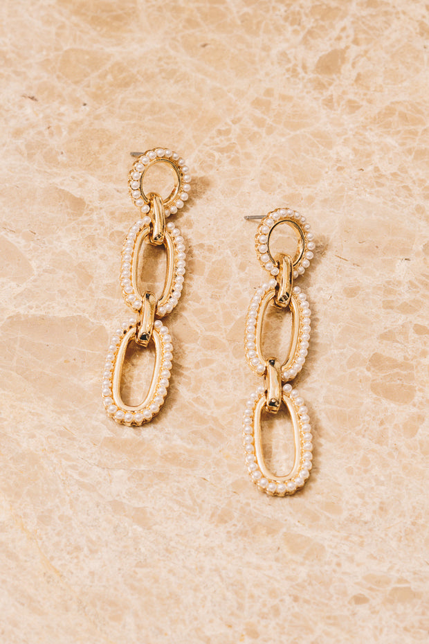 pearl gold chain link earrings