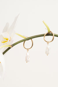 pearl hoop earrings gold on orchid branch