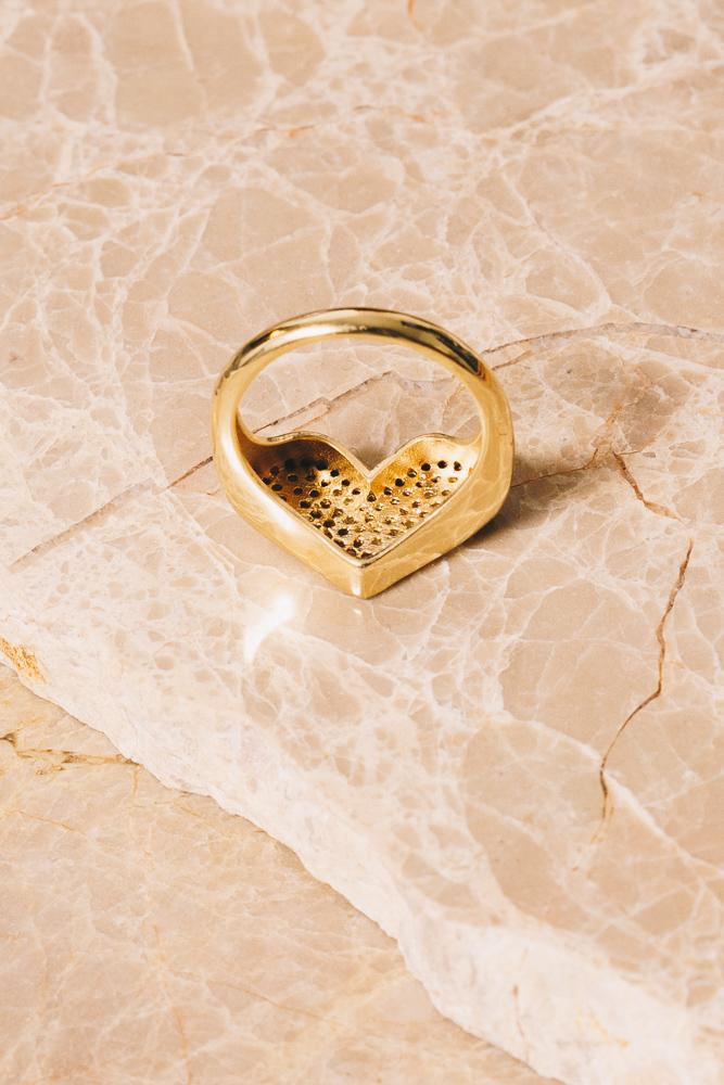 gold heart statement ring