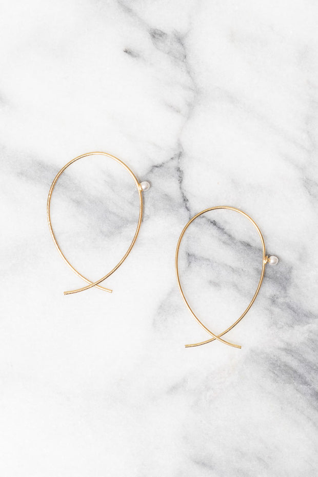 minimal gold wire threader earrings with pearl accent