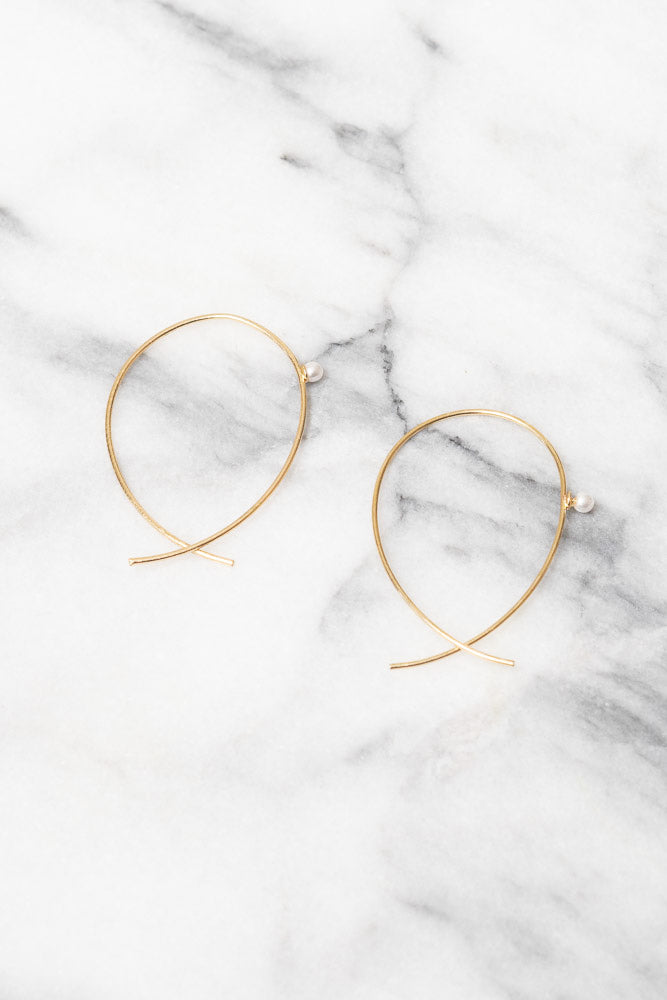 minimal gold wire threader earrings with pearl accent  by Janna Conner