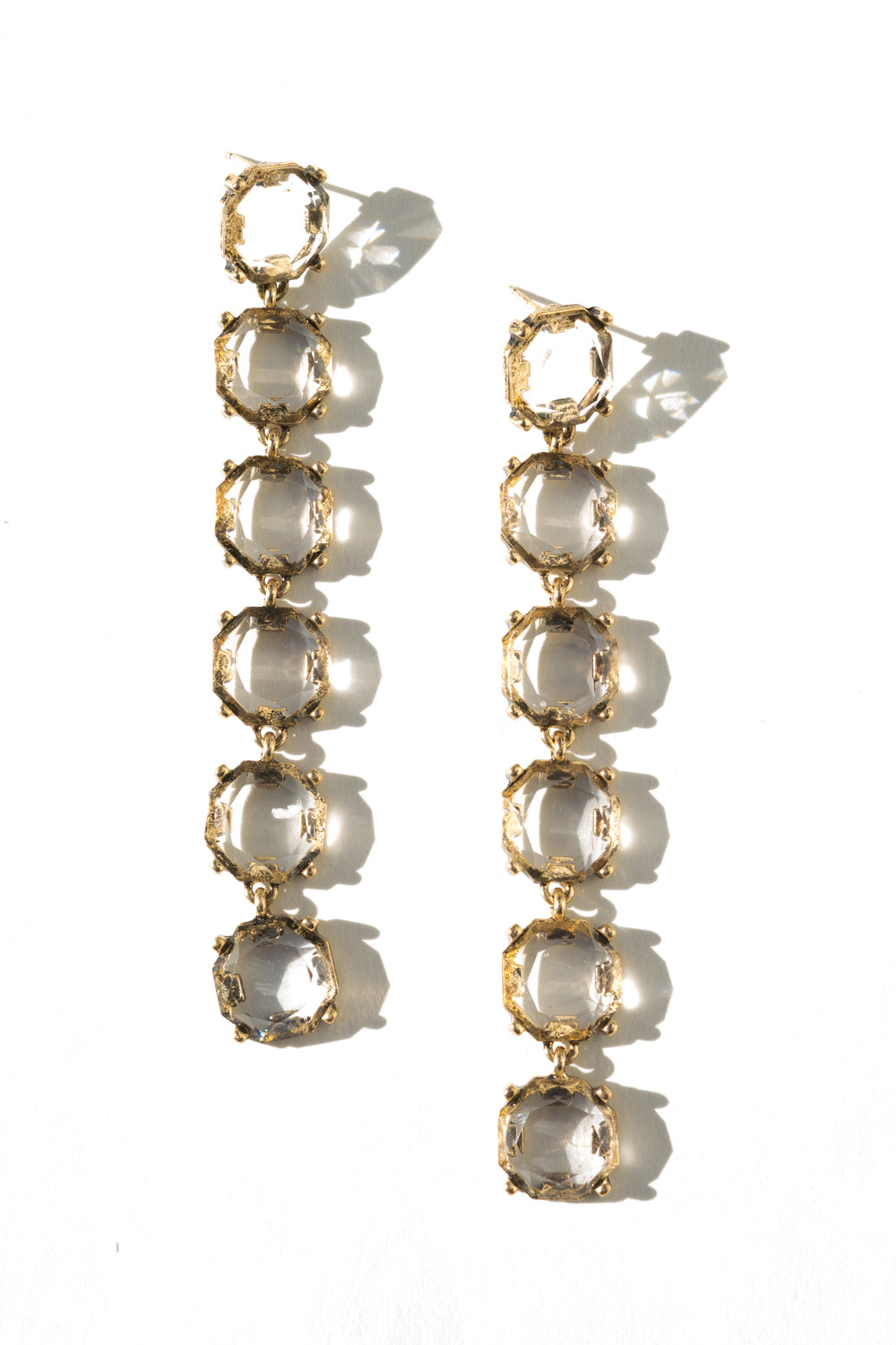 Xandie | Crystal Shoulder Duster Earrings | 18K Antique Gold Plating | Janna Conner