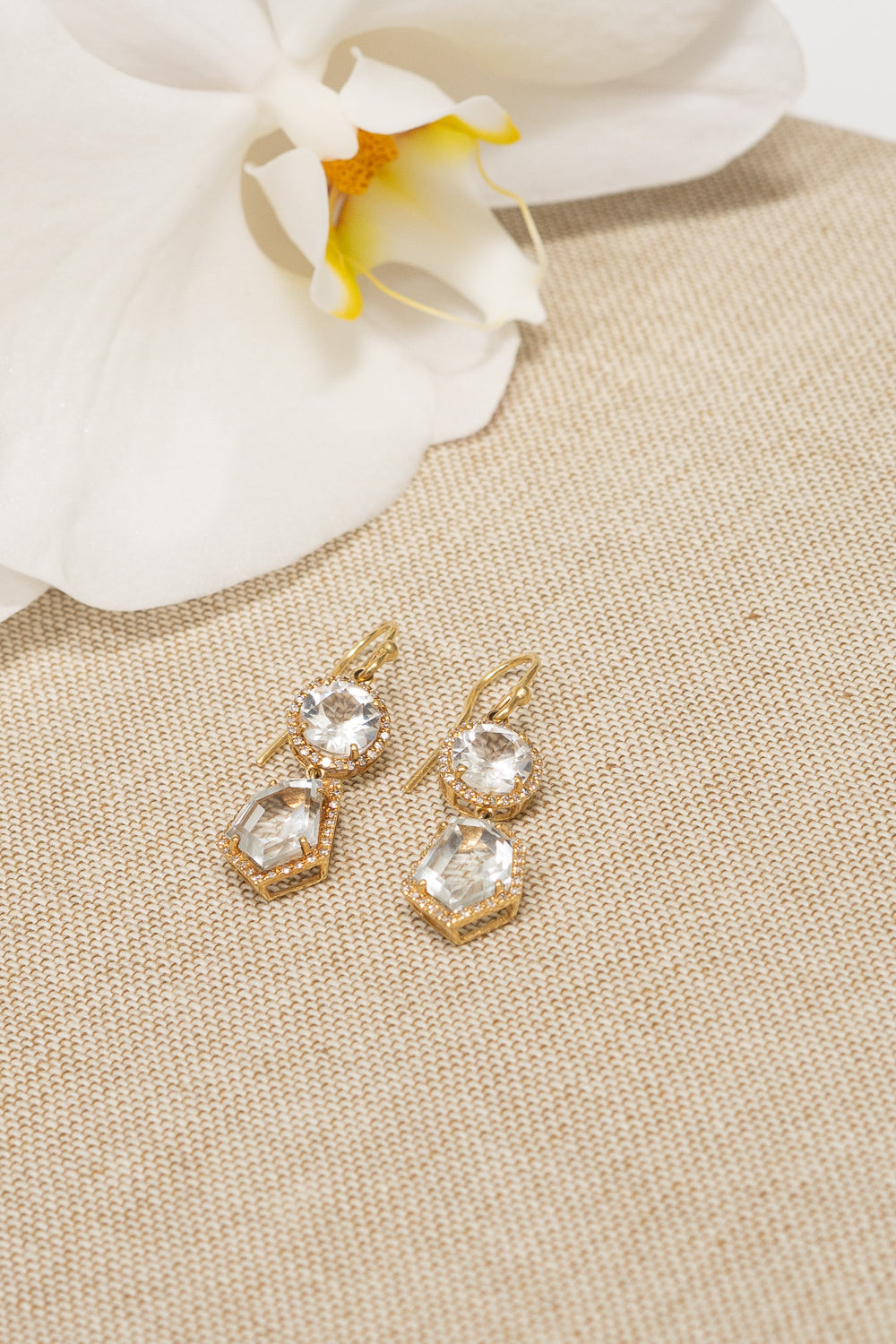 white topaz rosecut dangle drop earrings 14k gold