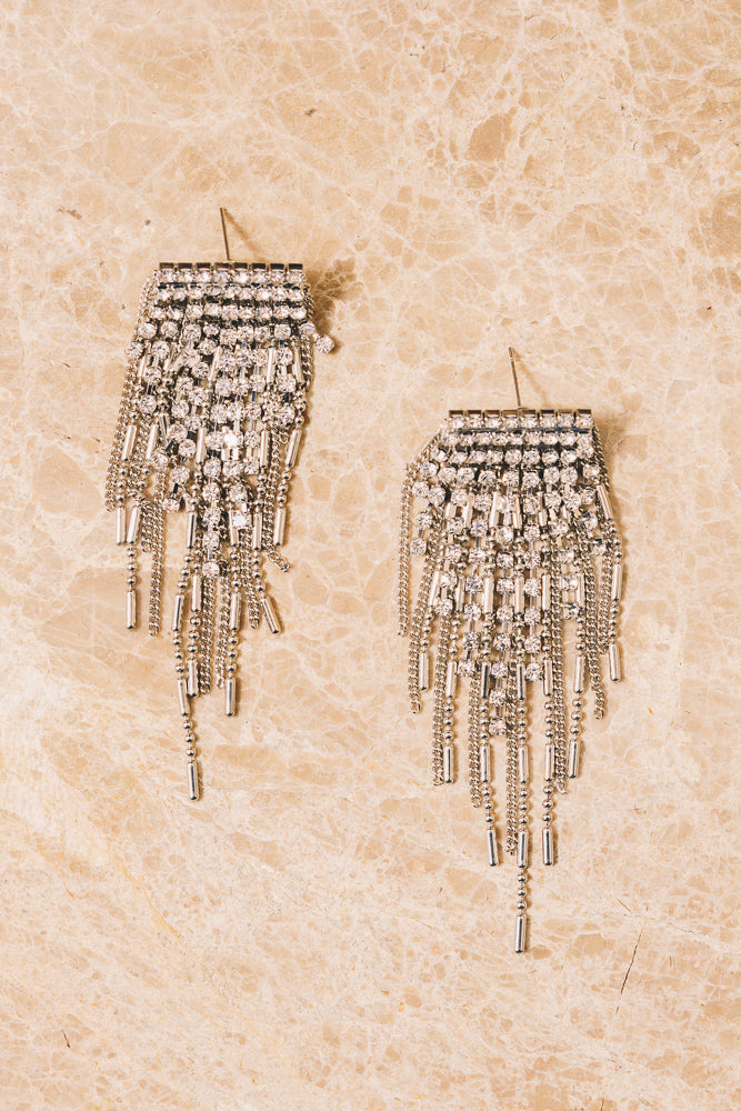 Dale Crystal Fringe Earrings | 18k White Gold Plating | Janna Conner