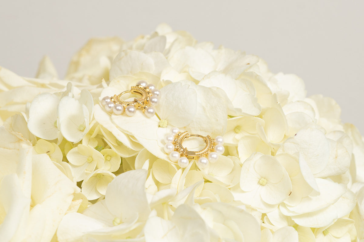 pearl mini gold huggie hoop earrings by janna conner on hydrangea