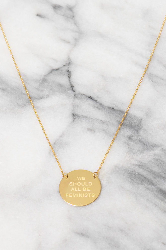 Feminist Stamped Coin Necklace | 18k Gold Plating Over Silver | Janna Conner