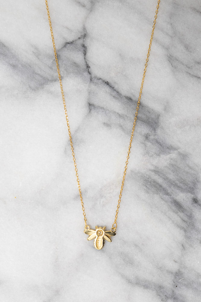 gold honey bee charm necklace