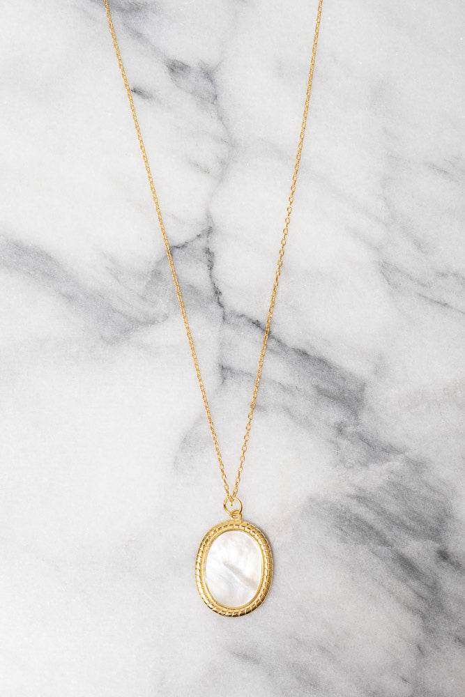 mother of pearl pendant gold necklace