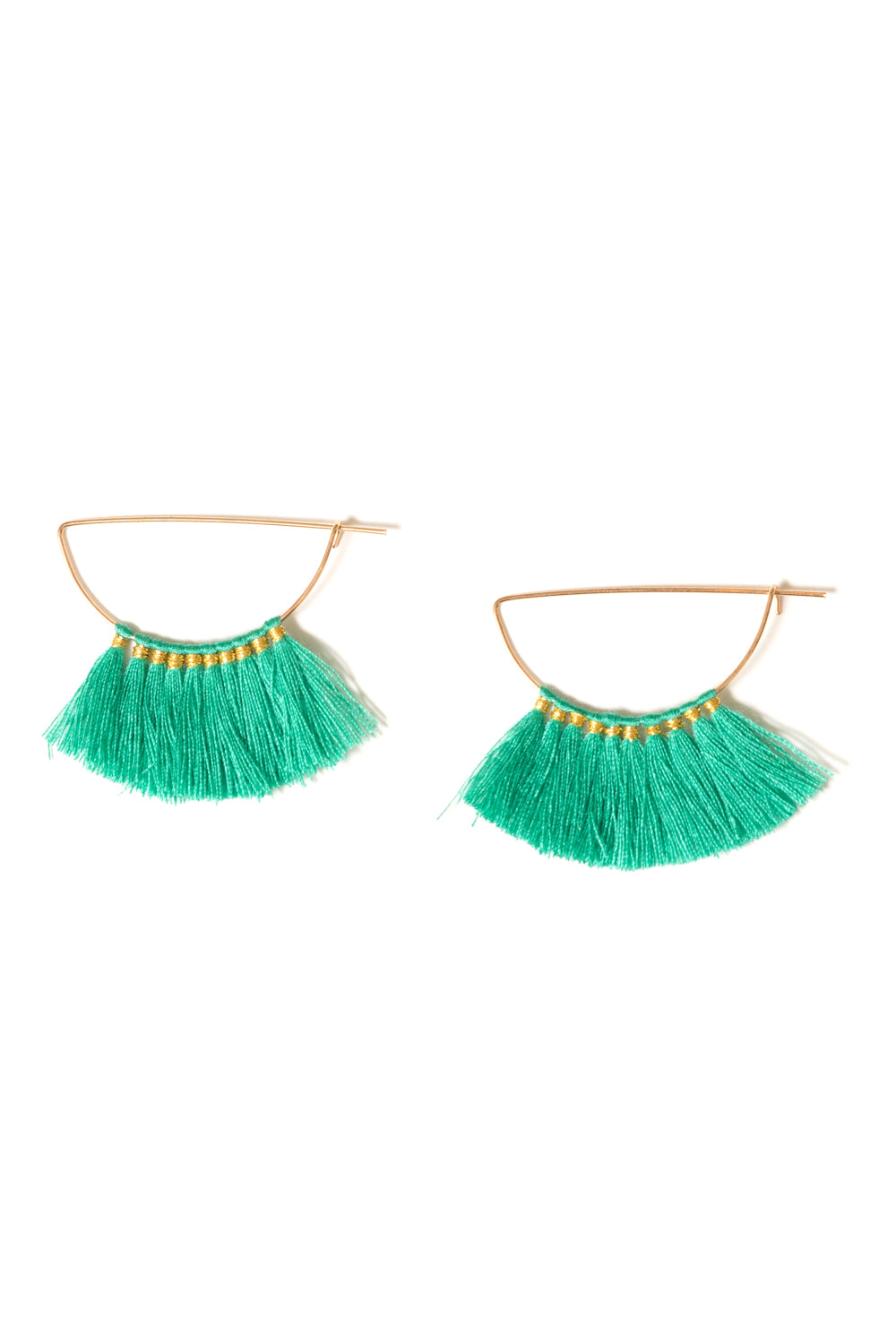 green cotton fringe tassel hoop earrings by janna conner
