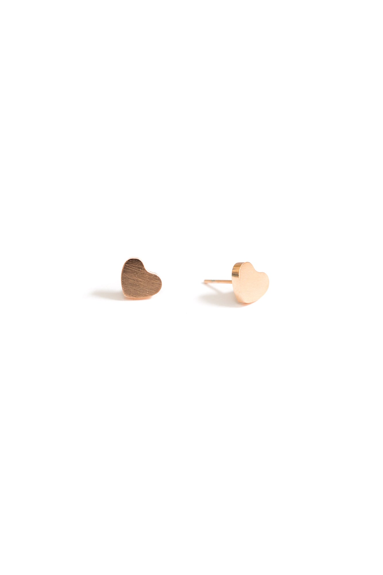 Heart Stud Earrings | 18K Rose Gold Plating | Janna Conner